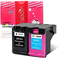 Cseein 2x Remanufacturados HP 301XL Cartuchos de Tinta para HP DeskJet 1000 1050 1050A 1050S 2000 2050 2050A 2050S 2050se 2054A 3010 3050 3050A 3050S 3050se 3050ve 3052A 3054A All-in-One Impresoras