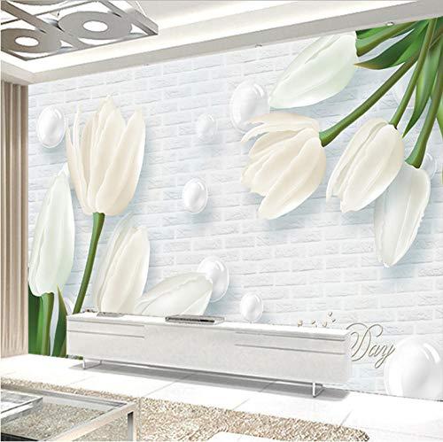 Benutzerdefinierte 3D Wandbild Tapete Moderne Europa 3D Geprägte Tulpe Jade Wohnzimmer TV Hintergrund Vliestapete Wandbild_280X200CM -