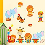 Stickerkoenig Wandtattoo Tiere Zirkus Löwe Wandaufkleber Sticker Kinderzimmer Baby Tapete Deko Wandsticker Baby Jungen Mädchen Wand Dekoration
