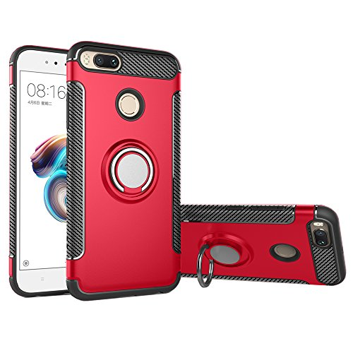 Xiaomi Mi A1 case with Finger Grip Ring Magnetic Car Mount holder, GOGME Rugged TPU/PC Double layer Hybrid Armor cover and 360° Rotation Kickstand 2 in 1. red