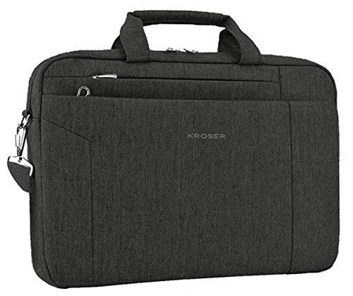 KROSER Laptoptasche 15,6 Zoll Notebooktasche Aktentasche Schulter Umhängetasche Wasserabweisend Satchel Tablet Bussiness Tragetasche Laptoptasche für Frauen und Männer-Schwarz