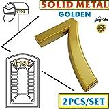 Magicdo®, numero civico, 2 pezzi, 6,9 cm, color oro, in metallo, per case moderne, buche delle lettere in metallo, numero autoadesivo (2pezzi/dorato), numero 7