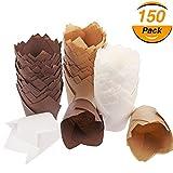 Tonver - Pirottini per muffin e cupcake, 150 pezzi (marrone, colore naturale, bianco)