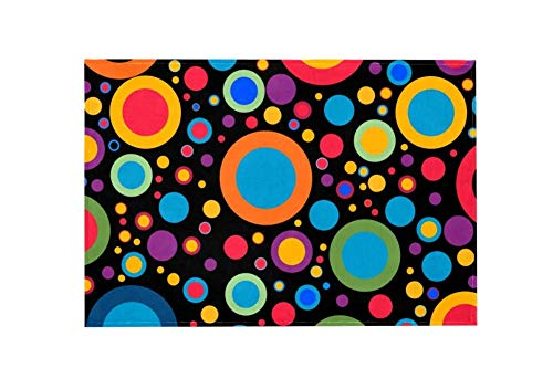 Black Circle Design Large Area Rugs,Dirty Children's Carpets for Living Roooms,Bedrooms,Children's Doormats 91.5x61cm/36x24in - 72 24 Teppich Läufer