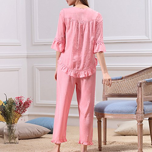 Zhhlinyuan Two pieces Comfortable Nightwear Ladies Fashion V-collar Pyjama Sets Rose Red