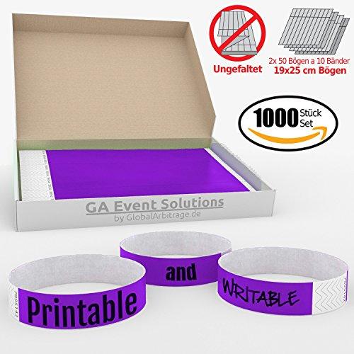GA Event Solutions Braccialetti di identificazione Tyvek, Porpora, 1000 pezzi