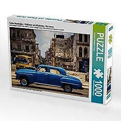 CALVENDO Puzzle Kuba Nostalgie: Oldtimer am Malecon, Havanna 1000 Teile Lege-Größe 64 x 48 cm Foto-Puzzle Bild von Carsten & Stefanie Krüger