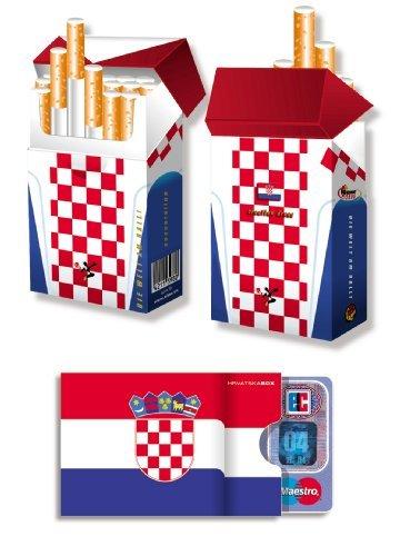 KROATIEN FAHNE / FLAGGE - EM-SET - 1x cardbox (Kartenhülle, Ausweishülle, Führerscheinhülle) UND 1x indo slipp (Hülle für Zigarettenschachteln) im SET