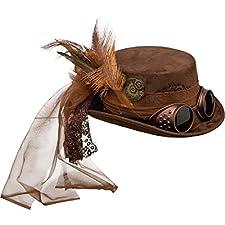 Wandeln Sie doch einmal in der Subkultur des Retrofuturismus. Mit dem stilechten Steampunk-Hut mit Brille verleihen Sie Ihrem Fantasy-Outfit den letzten Schliff.      Größe: Kopfweite 58, Höhe 11 cm   Farbe: braun   Material: 100%Polyester   ...