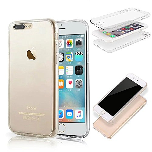 iPhone 8 Plus / iPhone 7 Plus Hülle, MOMDAD Beidseitiger 360°Full Body Schutzhülle für iPhone 8 Plus / iPhone 7 Plus Double Case Cover Telefonkasten Touchscreen TPU Silikon Transparent Front Back Schu QB-Klar