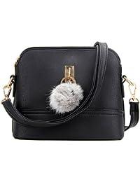 Rrimin Stylish Korean Style Women PU Leather Shoulder Bag With Plush Ball Crossbody Bag Conch Bag