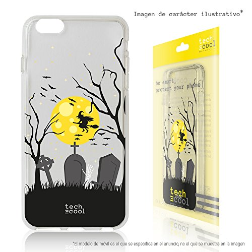 Tech® SchutzHülle Premium Soft Flex TPU Silikon Transparent für Nokia 1 l Case, Cover, Handy [Exklusives Design, High Definition Druck] [sehr helle Farben] [Ultra Dünn 1,5mm] [Kratzfest] (Klar) [Bruja halloween transparente] (Casas De Brujas Halloween)