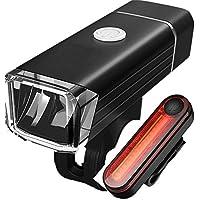 A.D LED Fahrradbeleuchtung Set - Fahrradlicht Wasserdicht mit USB Wiederaufladbare Fahrradlampen inkl. Frontlicht und Rücklicht, Akku-Fahrradbeleuchtung für Laufen, Joggen, Camping