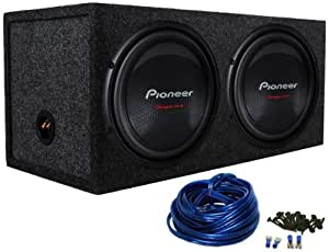 "Package: (2) Pioneer TS-W310D4 12"" 2800 Watt Dual 4-Ohm Car Audio Subwoofers + Rockville RD12 Dual 12"" Sealed Subwoofer Enclosure + Dual Enclosure Wiring Kit With 14 Gauge Speaker Wire + Screws + Spade Terminals"