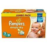 Pañales Pampers Dry Simplemente Midi 4-9kg Gr.3 Jumbo Box, 2-Pack (2 x 90 piezas)
