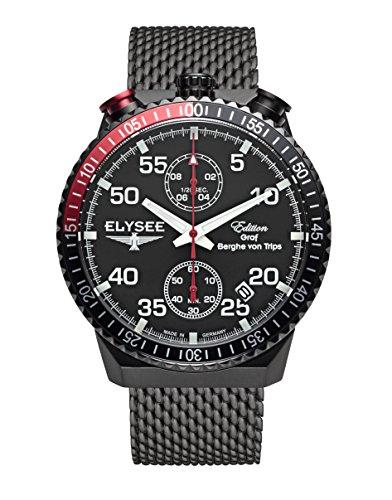 Herren Armbanduhr RALLY TIMER I von Elysee Uhren, Herren Uhr Chronograph mit schwarzem Milanaiseband, Edelstahl schwarz ionisiertem Gehäuse und schwarzem Ziffernblatt