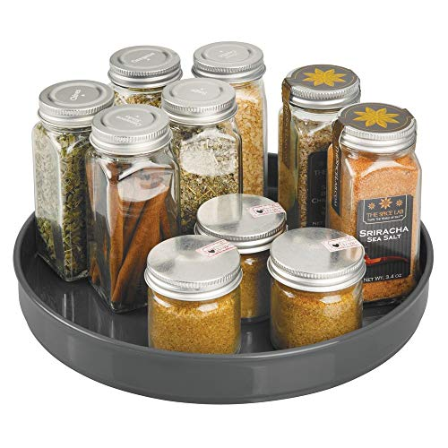 mDesign Lazy Susan Turntable Condiment Holder - Plastic Revolving Condiments and Spice Rack - Ideal Kitchen Storage Unit for Cooking Oil, Bottles, Cans and Jars - Charcoal Grey