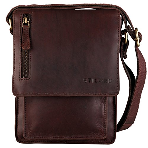 STILORD 'Finn' kleine Umhängetasche Herren Schultertasche Vintage Messenger Bag 8,4 Zoll Tablettasche echtes Büffel-Leder, Farbe:Ebenholz - braun