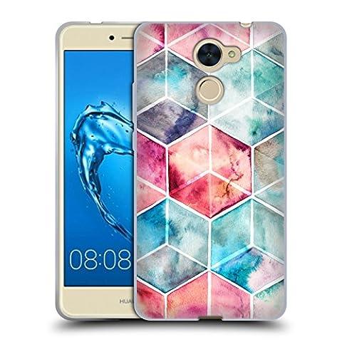 Offizielle Micklyn Le Feuvre Hexagon Kuben Muster 6 Soft Gel Hülle für Huawei Y7 Prime / Enjoy 7 Plus