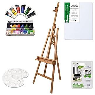 Artina Barcelona – Set de pintura – Caballete de pintura de academia (haya), lienzos, colores acrílicos, pinceles etc.