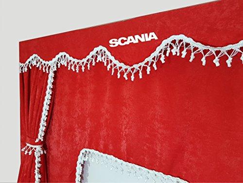 Set di 3/tende nere con nappe bianco taglia universale per camion tutti i modelli accessori decorazione peluche tessuto