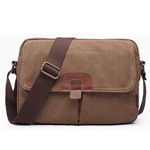 Outreo Umhängetasche Herren Messenger Bag Schule Schultertasche Kuriertasche Vintage Taschen Reisetaschen Reisen Herrentaschen für Sport Handtasche Braun