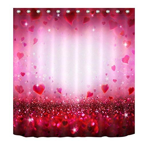 BKPH Valentinstag l Rot Romantik 3D Digitaldruck Polyester Badezimmer Badezimmer Wasserdicht...