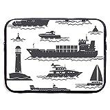 Icone di navi e barche Borsa per laptop Borsa con cerniera portatile Borsa per laptop Borsa per tablet