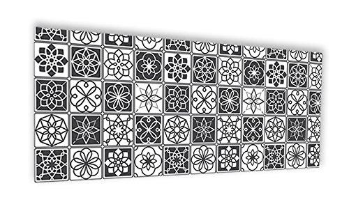 """Crédence de cuisine en Panneau composite aluminium ou fond de hotte de cuisine prêt à poser avec adhésif double face - L. 120 x H. 50 cm - Epaisseur 3 mm """"Carreaux ciments noir et blanc"""" - [Impression Murale®]"""