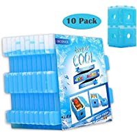 OICEPACK Ice Packs for Coolers, Reusable Freezer Packs for Lunch Box DIY Big Ice Cube Wine Chiller for Food Whiskey Beer Coffee Outdoor Fresh-Care [Set of 10]