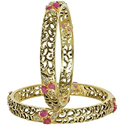 MUCH MORE Brass Made Ruby Stones Work Diamond Look bangle for Women
