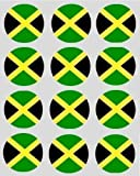 12 Jamaikanisch jamaika Flagge reispapier märchen / cup cake 40mm toppers vorgestanzt dekoration