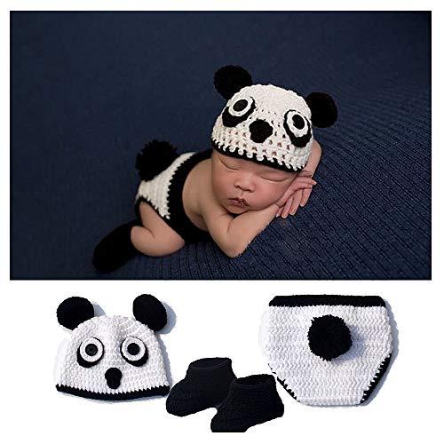 NROCF Panda Baby Foto Fotografie Requisiten Kleidung, Schwarz Und Weiß Acrylfaser, 0-6 Monate Baby Neugeborenen Anzug, Mit Schuhen, Kinder Fotografie - Baby Panda Kostüm 3 6 Monate