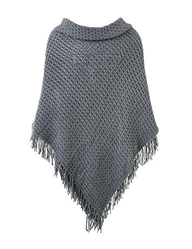 Ferand Poncho-Schal in lässiger Passform mit stylischen Hornknöpfen, V-Ausschnitt und V-Saum für Frauen Grau (Größeres Modell)