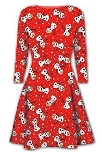 Damen Weihnachten Swing Kleider Damen Weihnachten Aufdruck Schneemann Santa Rentier Kleid - Olaf Rot, Damen, S/M (UK 8/10) (Santa Weihnachten Kleid)