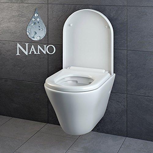 Design Wand Hänge WC ohne Spülrand Spülrandlos Toilette Sitz Softclose hängend 5 - 2
