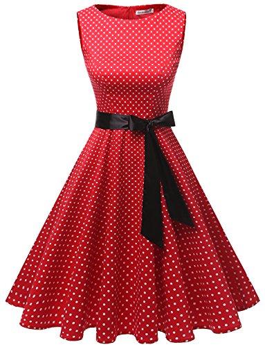 Gardenwed Damen Vintage 1950er Partykleid Rockabilly Ärmellos Retro Cocktailkleid Red Small White Dot 3XL