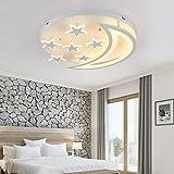 Edge to Deckenleuchten Kreative Sterne Mond Deckenleuchte Einfache moderne LED Schlafzimmer Deckenleuchte Wohnzimmer Kinderzimmer Deckenleuchte (Farbe : Weißes Licht-40 * 40 * 10cm)