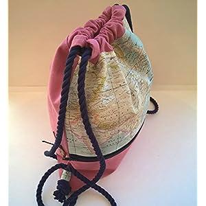 Mochila – Flores Rosa – Mochila con cordón náutico, hecha a mano en lona y algodón, con bolsillo exterior cerrado con cremallera