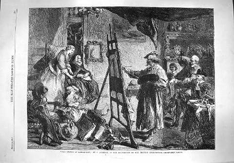 Old Original Antik Viktorianisch Druck 1861Studio Rembrandt Art Malerei Staffelei Old 191p138