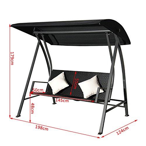 Outsunny® 3-Sitzer Hollywoodschaukel Schaukel Polyrattan Metall mit Kissen