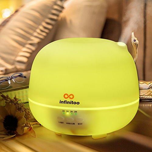 Luftbefeuchter | infinitoo 500ml Ultraschall Aroma Diffuser | Aromatherapie Diffusor | Abschaltautomatik Raumbefeuchter mit 7 LED Farbwechsel fuer Wohnzimmer, Kinderzimmer, Schlafzimmer, Baby- und Yogazimmer, SPA, Buero