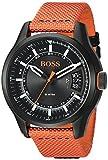 Hugo Boss de los hombres de Hong Kong deporte de cuarzo resina y nailon Casual reloj, color: naranja (modelo: 1550001)