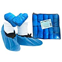 Tiga-Med strong Polythene Disposable Overshoes/strong Approx. 3,6gr thick! Original Quality Surgical Shoe Covers Pack of 100 Disposable Shoe Covers Schuhüberzug Blue