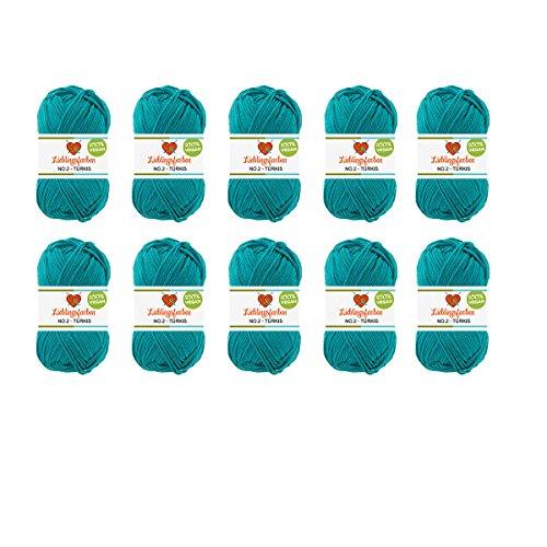 10er Pack Häkel- und Strickgarn Baumwoll-Kapok-Mix Lieblingsfarben No.2 500g Farbe: (Türkis)