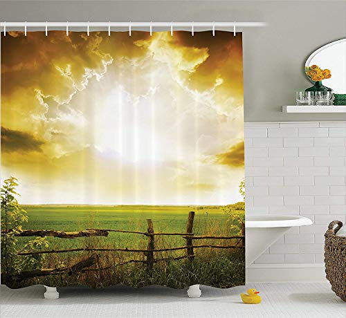 BUZRL Farm House Decor Shower Curtain Set, Sunset on The Field at Summer Wooden Hedge Springtime Meadow Morning View Print, Bathroom Accessories, 66x72 inches, Green Yellow