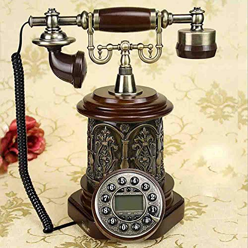 MEICHEN Altmodische Europäische Dekoration des Festen Holzes Antiker Plattenspielerantiketelefon,C