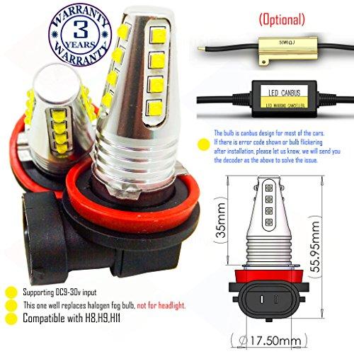 Preisvergleich Produktbild Wiseshine H16 led-Nebelscheinwerfer lampen DC9-30v 3 Jahre Qualitätssicherung (2 Stück) H9 16 led HP Grün