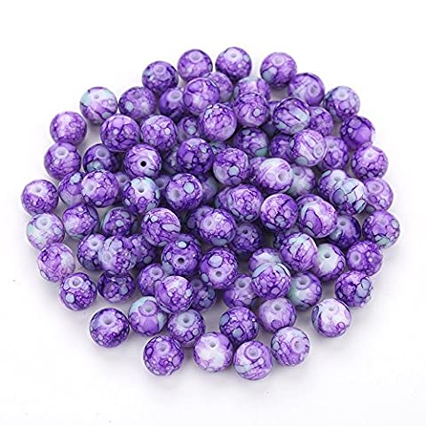 Round Loose Beads 100pcs Lampwork Glass Bead Artistic Marble Design Various Color Beads for Jewelry Making Craft DIY Beading Supplies,0.3 Inch (8mm) Diameter (Purple)