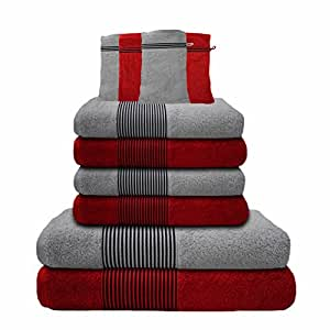 Liness-Stripes 10 tlg Handtuch-Set 4 Handtücher 50x100 cm 2 Duschtücher Badetücher 70x140 cm 4 Waschhandschuhe Waschlappen 16x21 cm 100% Baumwolle hell-grau rot